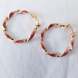 Beautiful twisted hoops. Gold and light brown. New